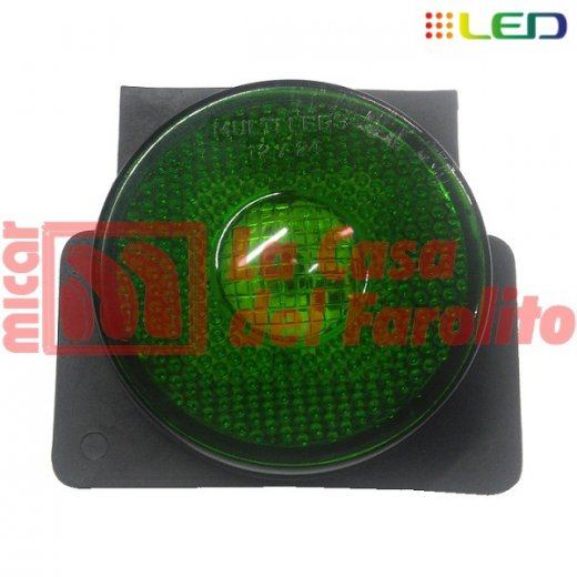 FAROL LATERAL TIPO RANDON FLEXIBLE PVC 9 LEDS 12/24 V 90 MM VERDE