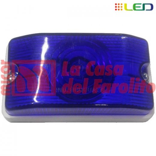 FAROL LATERAL SOPORTE PVC 6 LEDS 12/24 V 105 X 58 MM AZUL