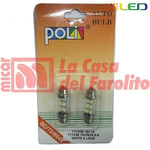 JUEGO DE LÁMPARAS LED TUBULAR PLAFÓN INTERIOR 36 MM LARGO 12V